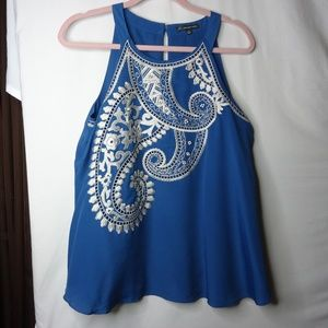 Adrianna Papell Blue Embellished Sleeveless Top